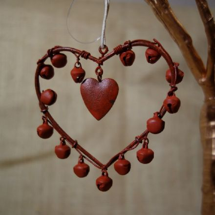 50% off Hanging Rustic Red Bell Heart